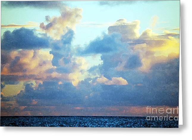 Seascape With Cloudy Sky Greeting Cards - Hawaiian Fluff Greeting Card by Flamingo Graphix John Ellis