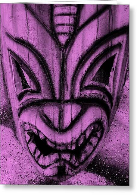 Polynesian Pop Greeting Cards - Hawaiian Fuchsia Mask Greeting Card by Rob Hans