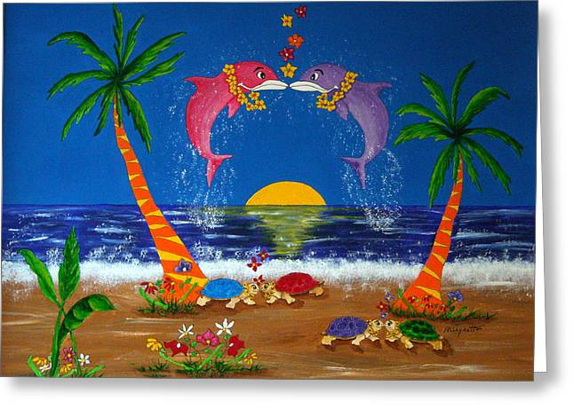 Summer Scene Mixed Media Greeting Cards - Hawaiian Island Love Greeting Card by Pamela Allegretto