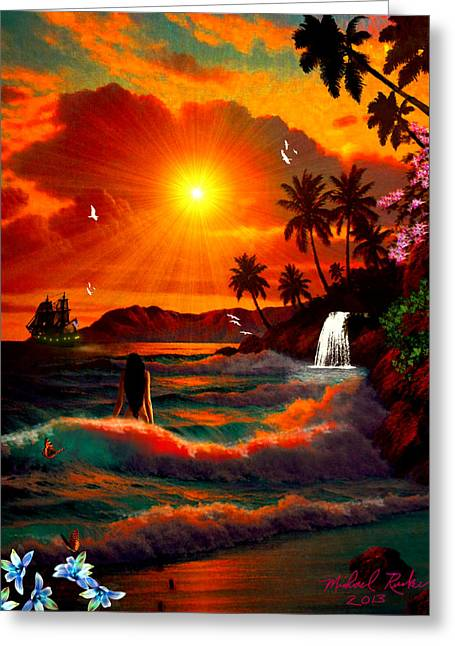 Rucker Greeting Cards - Hawaiian Islands Greeting Card by Michael Rucker