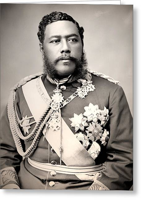 1880s Greeting Cards - Hawaiian King David Kalakaua 1882 Greeting Card by Mountain Dreams
