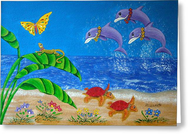 Juvenile Art Greeting Cards - Hawaiian Lei Day Greeting Card by Pamela Allegretto