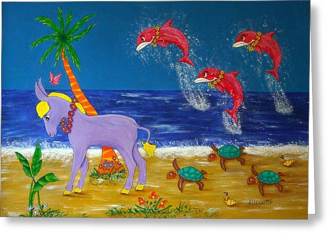Donkey Mixed Media Greeting Cards - Hawaiian Lei Parade Greeting Card by Pamela Allegretto