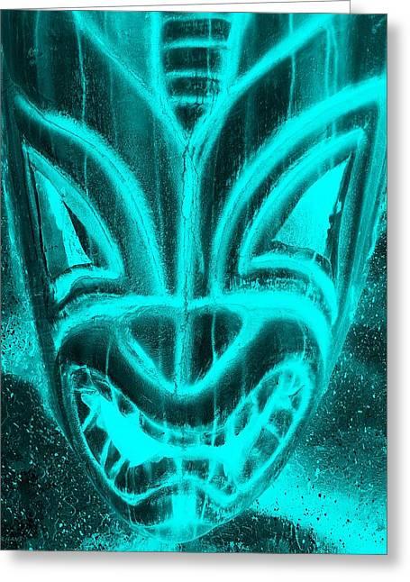 Polynesian Pop Greeting Cards - Hawaiian Mask Negative Aquamarine Greeting Card by Rob Hans
