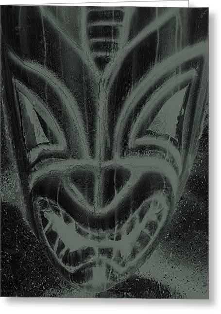 Polynesian Pop Greeting Cards - Hawaiian Mask Negative Charcoal Greeting Card by Rob Hans