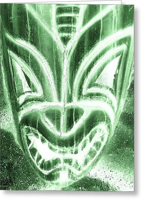 Polynesian Pop Greeting Cards - Hawaiian Mask Negative Olive Greeting Card by Rob Hans