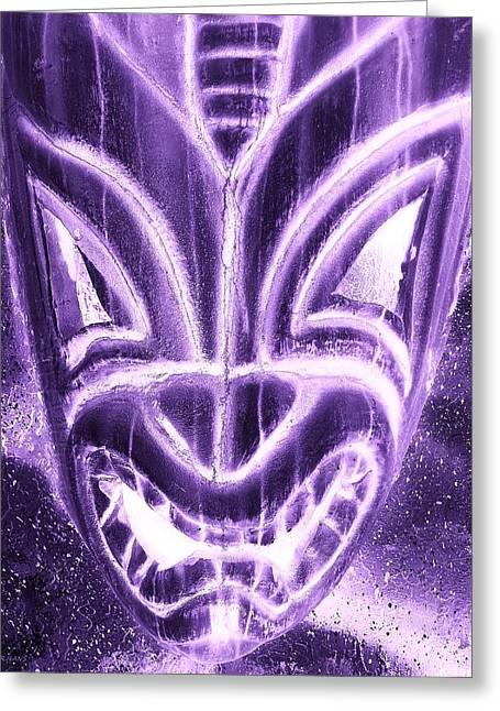 Polynesian Pop Greeting Cards - Hawaiian Mask Negative Purple Greeting Card by Rob Hans