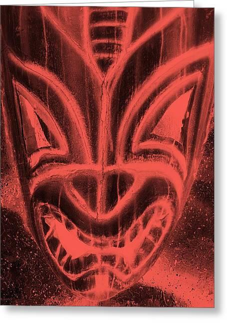 Polynesian Pop Greeting Cards - Hawaiian Mask Negative Salmon Greeting Card by Rob Hans