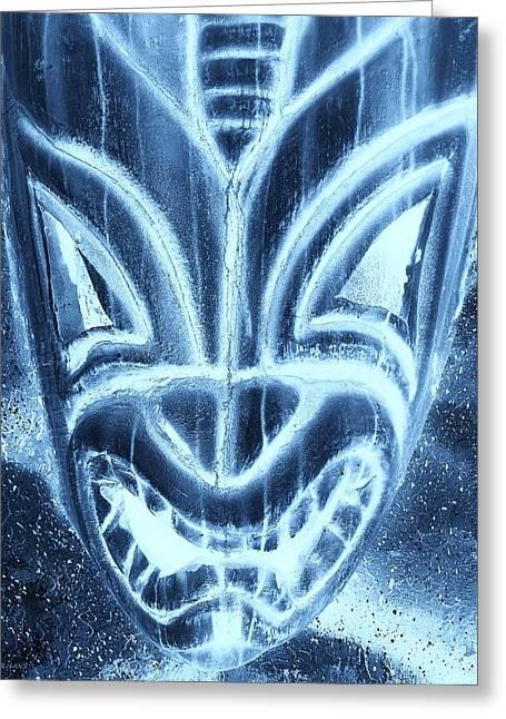 Polynesian Pop Greeting Cards - Hawaiian Mask Negative Turquoise Greeting Card by Rob Hans