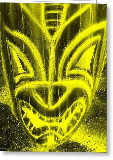Polynesian Pop Greeting Cards - Hawaiian Mask Negative Yellow Greeting Card by Rob Hans