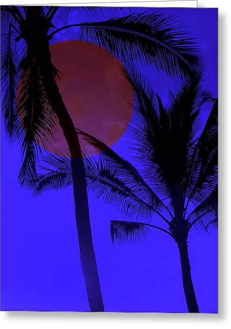 All Occasion Card  Greeting Cards - Hawaiian Moon Light Greeting Card by Athala Carole Bruckner