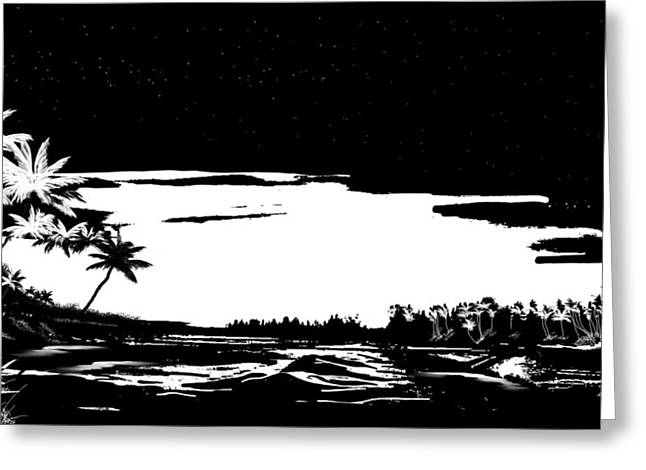 Beach At Night Digital Art Greeting Cards - Hawaiian night Greeting Card by Anthony Fishburne