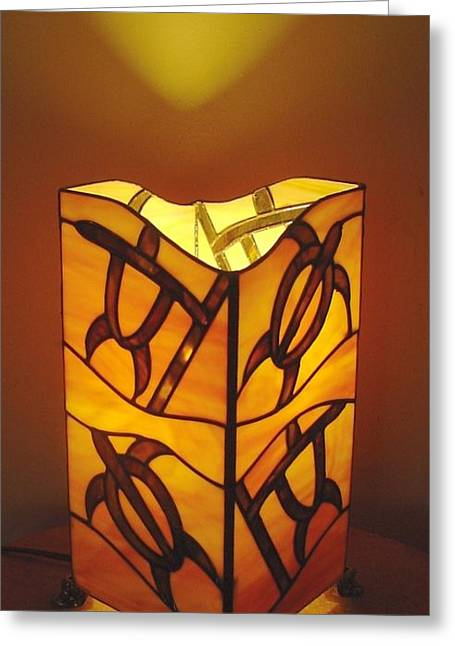 Tropical Stain Glass Glass Art Greeting Cards - Hawaiian Petroglyph Lamp Greeting Card by DK Nagano