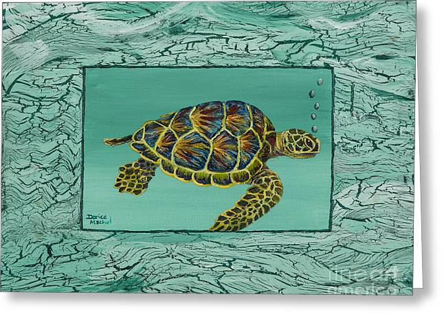 Green Sea Turtle Paintings Greeting Cards - Hawaiian Sea Turtle Greeting Card by Darice Machel McGuire