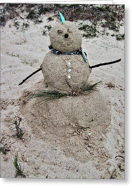 Sand Castles Photographs Greeting Cards - Hawaiian Snowman Greeting Card by Cheryl Young
