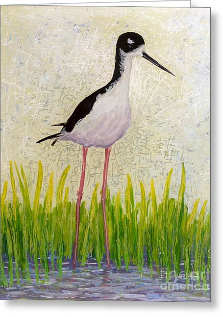 Fauna Glass Art Greeting Cards - Hawaiian Stilt Greeting Card by Anna Skaradzinska