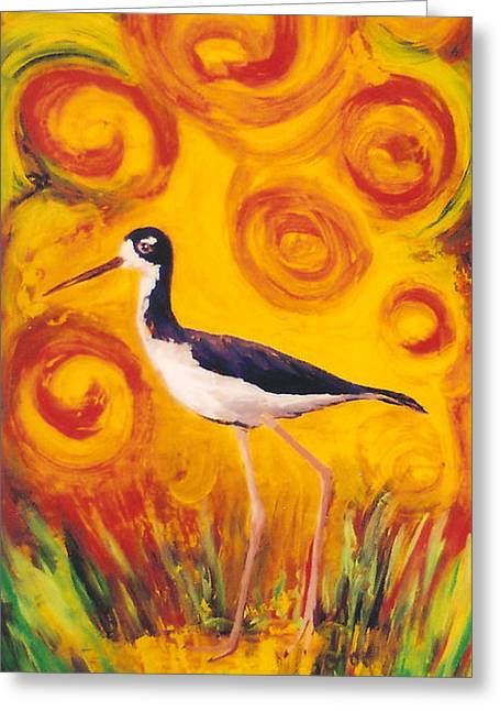 Fauna Glass Art Greeting Cards - Hawaiian Stilt Sunset Greeting Card by Anna Skaradzinska