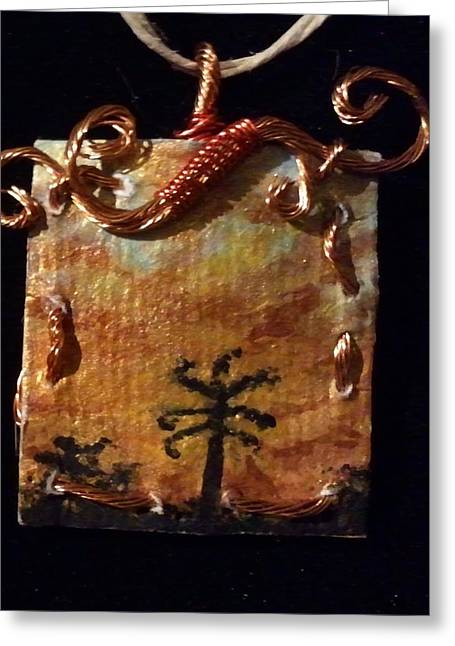 Sunrises Jewelry Greeting Cards - Hawaiian Sunrise in Handmade Copper Mounting Greeting Card by Bethany Jordan