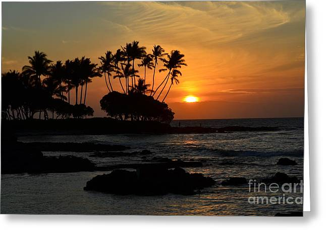 Hawaiian Sunset At Pauoa Bay Greeting Card by Greg Cross