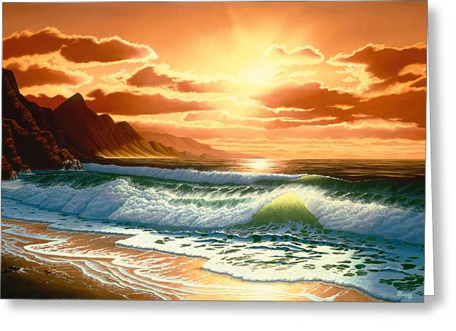 Ocean Scape Greeting Cards - Hawaiian Sunset Greeting Card by Del Malonee