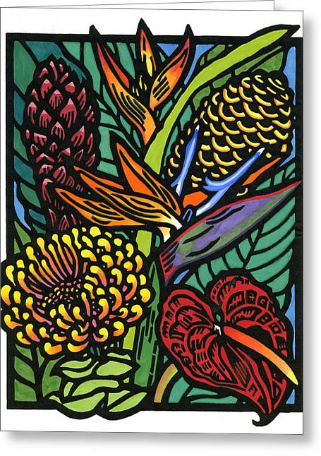 Lino Mixed Media Greeting Cards - Hawaiian Tropical Flowers Greeting Card by Lisa Greig