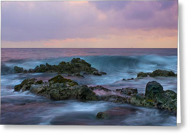 Surfing Photos Greeting Cards - Hawaiian Waves at Sunset Greeting Card by Bryant Coffey