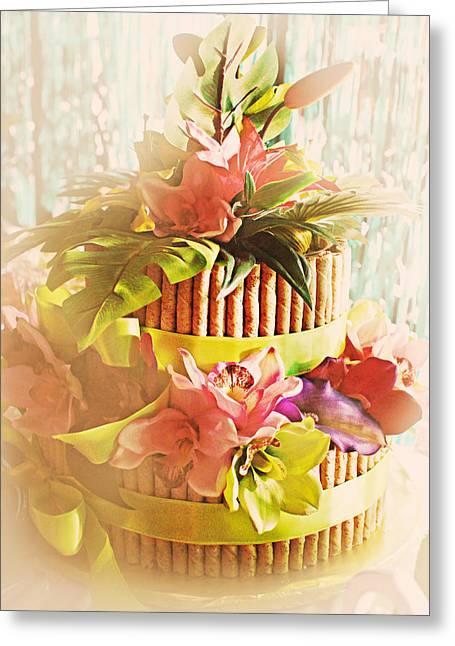 Hawaiian Wedding Cake Greeting Card by Susan Bordelon