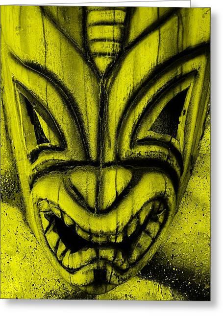 Polynesian Pop Greeting Cards - Hawaiian Yellow Mask Greeting Card by Rob Hans