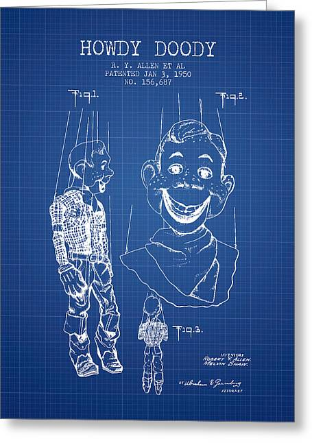 Puppets Greeting Cards - Hawdy Doody Patent from 1950 - Blueprint Greeting Card by Aged Pixel