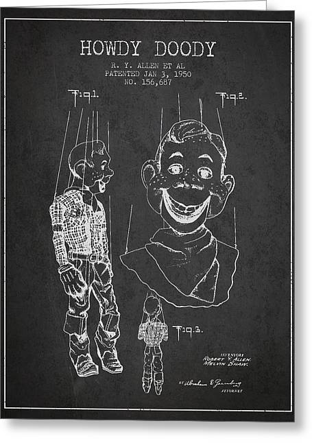 Puppets Greeting Cards - Hawdy Doody Patent from 1950 - Charcoal Greeting Card by Aged Pixel