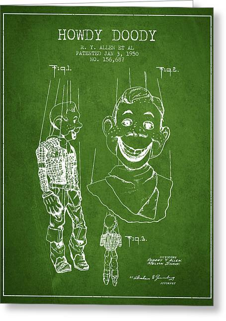 Puppets Greeting Cards - Hawdy Doody Patent from 1950 - Green Greeting Card by Aged Pixel