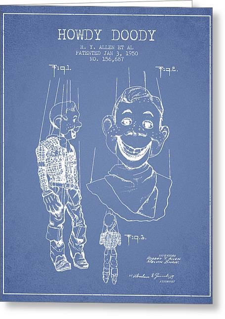 Child Toy Digital Greeting Cards - Hawdy Doody Patent from 1950 - Light Blue Greeting Card by Aged Pixel