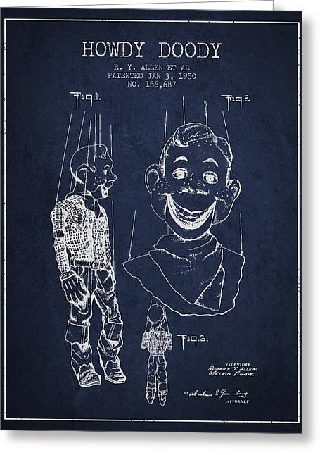 Puppets Greeting Cards - Hawdy Doody Patent from 1950 - Navy Blue Greeting Card by Aged Pixel