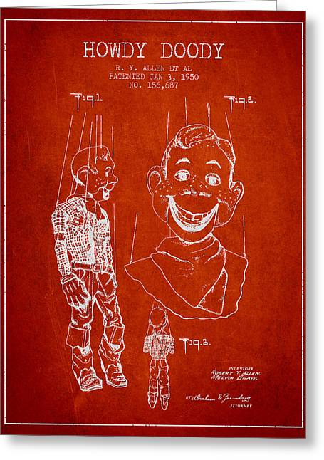 Puppets Greeting Cards - Hawdy Doody Patent from 1950 - Red Greeting Card by Aged Pixel