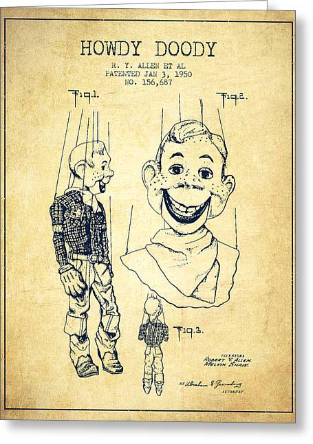 Puppets Greeting Cards - Hawdy Doody Patent from 1950 - Vintage Greeting Card by Aged Pixel