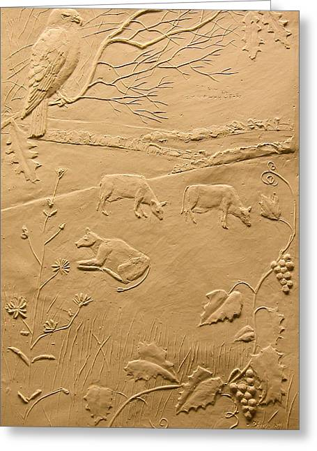 Print Reliefs Greeting Cards - Hawk and Cows Greeting Card by Deborah Dendler