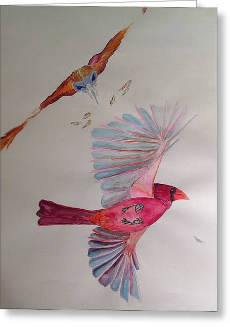 Raptor Drawings Greeting Cards - Hawk Attacking A Cardinal Greeting Card by Robert Hilger