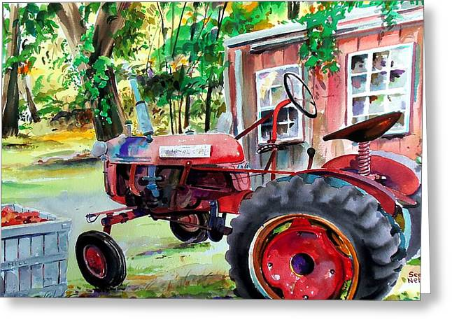 Scott Nelson And Son Paintings Greeting Cards - Hawk Hill Apple Tractor Greeting Card by Scott Nelson