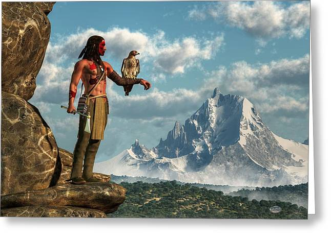 Spirit Guides Greeting Cards - Hawk Warrior Greeting Card by Daniel Eskridge
