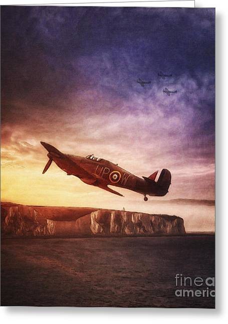 Sot Greeting Cards - Hawker Hurricane Over Dover by Shawna Mac Greeting Card by Shawna Mac