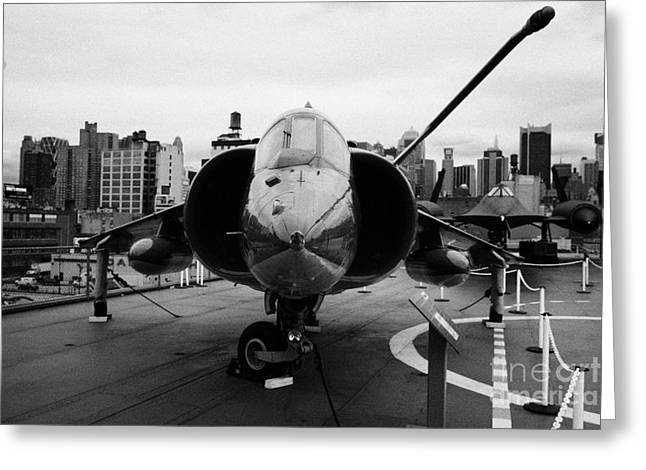 Manhaten Greeting Cards - Hawker Siddeley av8 AV 8C Harrier on display on the flight deck at the Intrepid Sea Air Space Museum Greeting Card by Joe Fox
