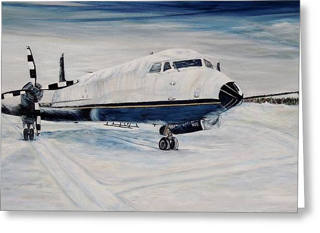 Propeller Paintings Greeting Cards - Hawker - Waiting out the storm Greeting Card by Marilyn  McNish
