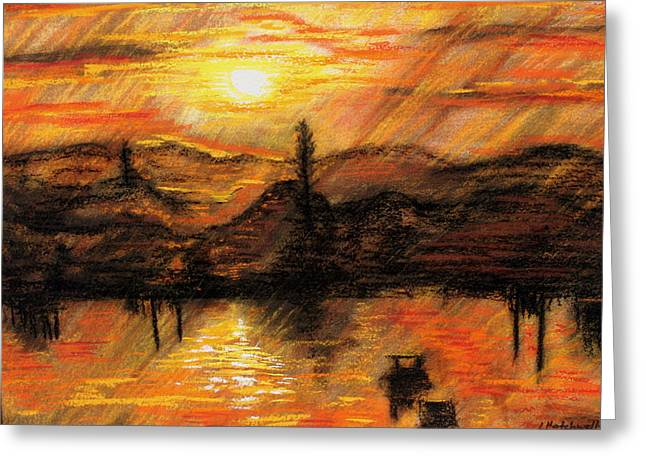 Lyndsey Hatchwell Greeting Cards - Hawkes Nest Sunset Greeting Card by Lyndsey Hatchwell
