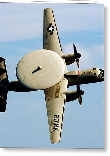 Military Airplanes Greeting Cards - Hawkeye Greeting Card by Benjamin Yeager
