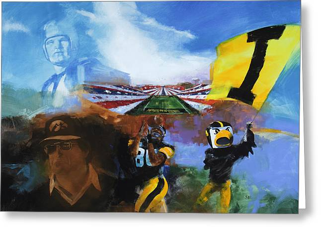 Fries Paintings Greeting Cards - Hawkeye Football montage Greeting Card by Stan Fellows