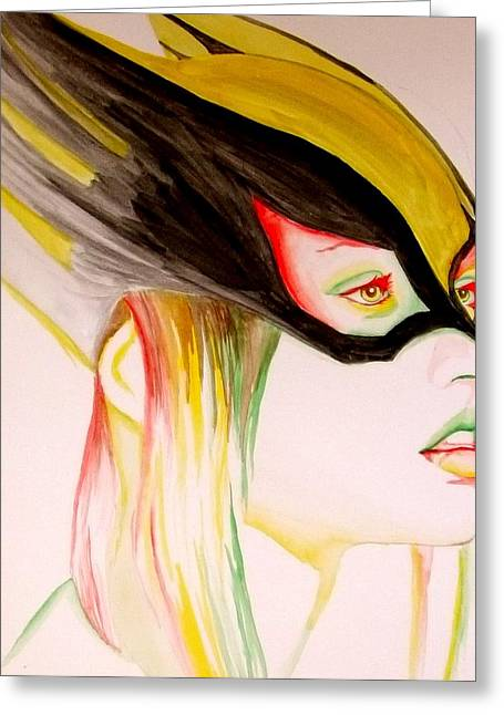 Comic Book Character Paintings Greeting Cards - Hawkgirl Greeting Card by Lauren Anne