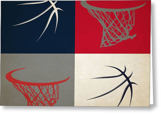 Dunk Greeting Cards - Hawks Ball And Hoop Greeting Card by Joe Hamilton