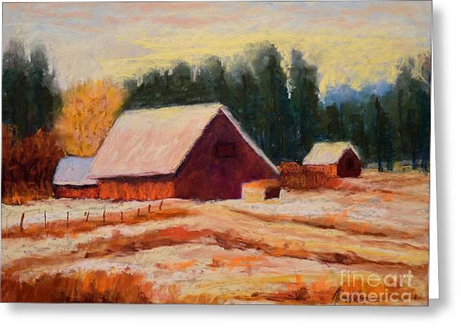 Farming Pastels Greeting Cards - Hawks Prairie Winter Greeting Card by Arlene Baller
