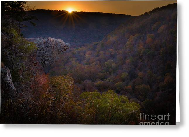Boxley Valley Greeting Cards - Hawksbill Crag Greeting Card by Larry McMahon