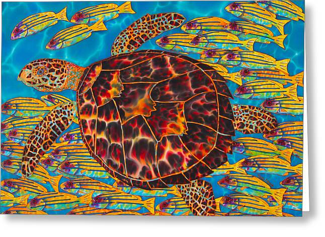 Print Tapestries - Textiles Greeting Cards - Hawksbill Sea  Turtle and  Snappers Greeting Card by Daniel Jean-Baptiste